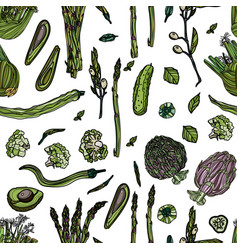 seamless pattern with green veggies vector image