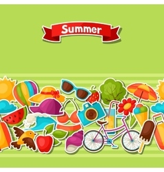 Seamless pattern with summer stickers Background vector image