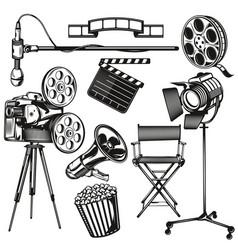 set cinema elements vector image