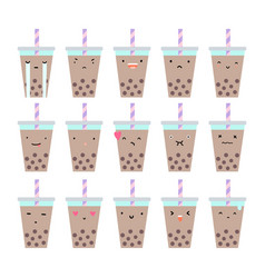 Set of bubble tea emotions vector