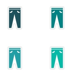 Set of paper stickers on white background pants vector