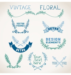 Set vintage page decorations with floral vector