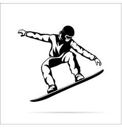 silhouette of a jumping snowboarder vector image