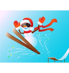 Snowman on skis vector