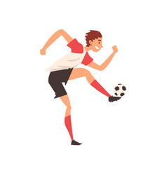 soccer player kicking ball professional football vector image