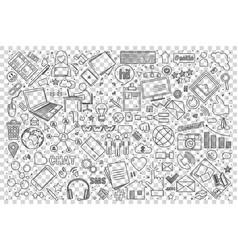 social media doodle set vector image