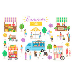 Summer fair people on vacation summertime relax vector