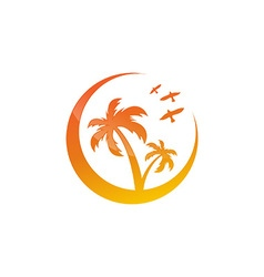 Symbol of the island with palm trees vector