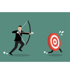 Target run away from businessman archer vector image