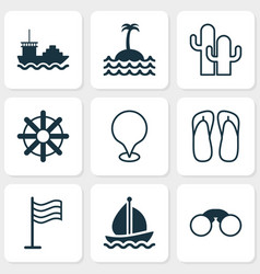 travel icons set collection of pin map pointer vector image
