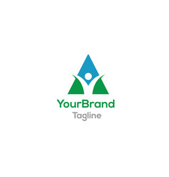 triangle people logo template vector image