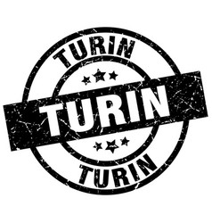 Turin black round grunge stamp vector
