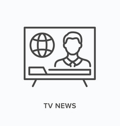 Tv news flat line icon outline vector