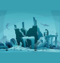 Underwater ruins old city silhouette vector