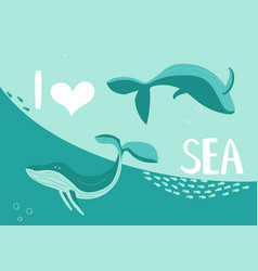 Underwater scene with pair blue whales vector