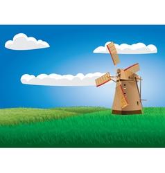 Windmill on grass field vector
