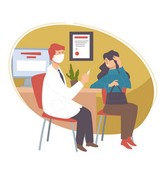 woman at doctors office appointment with doc vector image