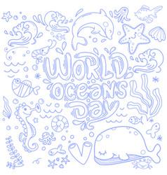 World ocean day dedicated to protect sea ocean vector