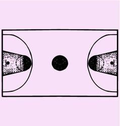 Basketball field court top view vector