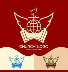 cross open bible globe dove and angel wings vector image vector image
