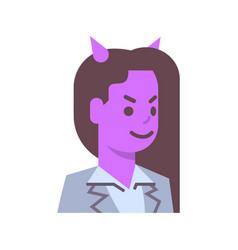 Female devil emotion icon isolated avatar woman vector