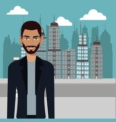 man stylish casual urban background vector image