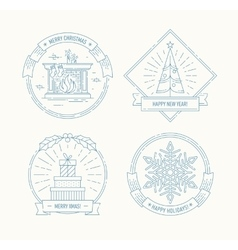 Merry Christmas and Happy New Year badges set vector image vector image