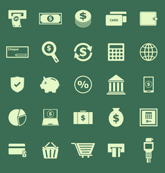 payment color icons on green background vector image vector image