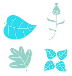 Winter leaves set isolated on white vector image vector image