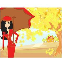 beautiful woman with umbrella vector image