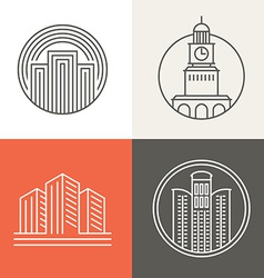buildings and houses logos vector image