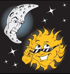 Moonman and Sundude vector image vector image