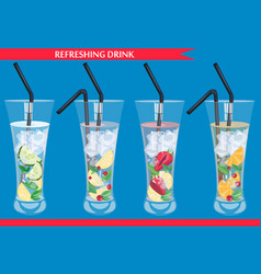 Set of refreshing drinks vector