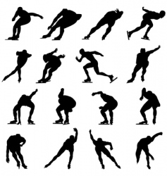 skating man silhouette set vector image