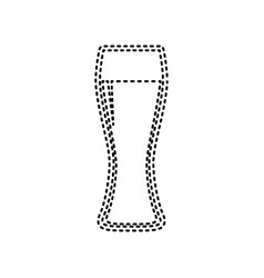 beer glass sign black dashed icon on vector image
