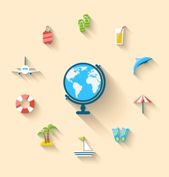 Flat set icons tourism objects and equipment with vector image vector image