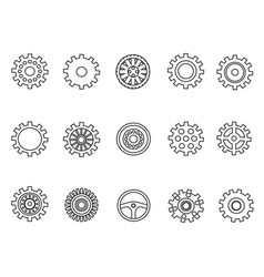 gears outline icons set vector image