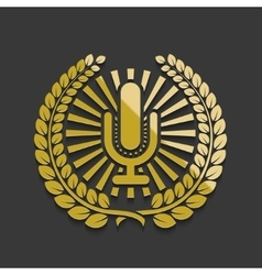 modern golden microphone emblem vector image