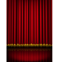 Red velvet theater stage curtain with golden vector image vector image