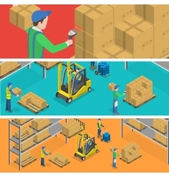 Warehouse isometric flat vector image vector image