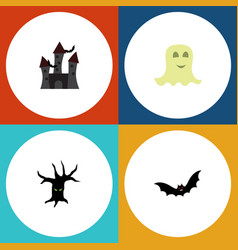 flat icon festival set of fortress terrible vector image vector image