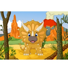 funny Triceratops cartoon with volcano vector image vector image
