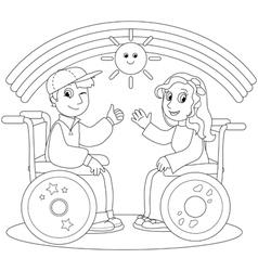 Happy teenagers on wheelchair vector image vector image