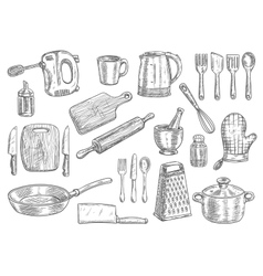 Kitchen utensils and appliances isolated sketches vector image vector image