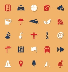 Map sign classic color icons with shadow vector