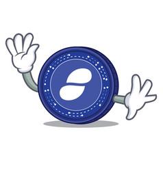 waving status coin character cartoon vector image vector image