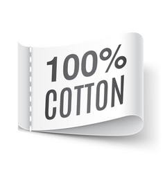 100 percent cotton clothing label vector