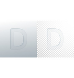 3d paper cut letter d isolated on transparent vector image