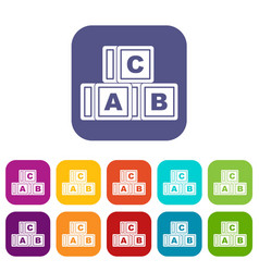 abc cubes icons set flat vector image