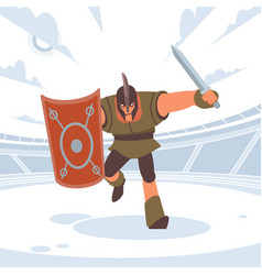 Achilles in battle runs to enemy with a sword vector